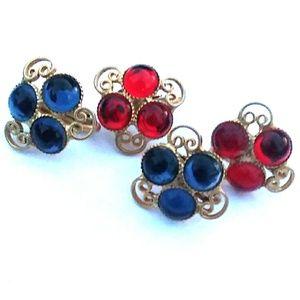VINTAGE GoldTone Red & Blue Acrylic Clip-on Bundle